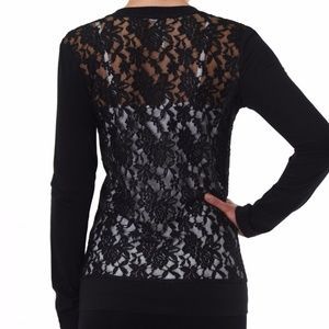 Tops - Soft Knit Button Front Cardigan with Lace Back